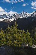 Landscape of snow clad Himalayan mountains near Sangla, Kinnaur