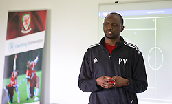 NEWPORT, WALES - Saturday, May 30, 2015: Patrick Vieira during the Football Association of Wales' National Coaches Conference 2015 at Dragon Park. (Pic by David Rawcliffe/Propaganda)