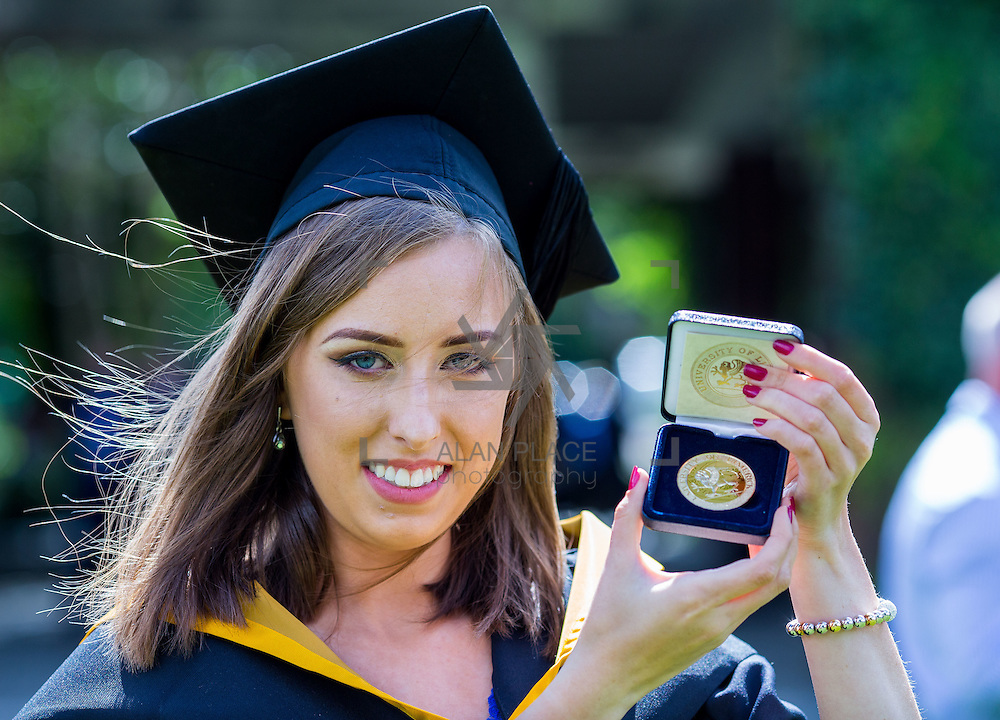 """24.08.2016        <br /> Over 300 students graduated from the Faculty of Science and Engineering at the University of Limerick today. <br /> <br /> Attending the conferring ceremony was Bachelor of Science in Mathematics and Physics graduate, Shaunagh Downing who received a Gold Medal for Joint First Place Overall, Class of 2016. Picture: Alan Place.<br /> <br /> As the University of Limerick commences four days of conferring ceremonies which will see 2568 students graduate, including 50 PhD graduates, UL President, Professor Don Barry highlighted the continued demand for UL graduates by employers; """"Traditionally UL's Graduate Employment figures trend well above the national average. Despite the challenging environment, UL's graduate employment rate for 2015 primary degree-holders is now 14% higher than the HEA's most recently-available national average figure which is 58% for 2014"""". The survey of UL's 2015 graduates showed that 92% are either employed or pursuing further study."""" Picture: Alan Place"""