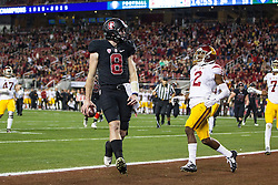 SANTA CLARA, CA - DECEMBER 05: Quarterback Kevin Hogan #8 of the Stanford Cardinal scores a touchdown past cornerback Adoree' Jackson #2 of the USC Trojans during the second quarter of the Pac-12 Championship game at Levi's Stadium on December 5, 2015 in Santa Clara, California. (Photo by Jason O. Watson/Getty Images) *** Local Caption *** Kevin Hogan; Adoree' Jackson