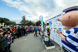 Ales Kalan and Second placed Paolo Toto of Sangemini Trevigiani Mg.K Vis Team at trophy ceremony during the cycling race 6. VN Slovenske Istre / 6th Slovenian Istra Grand Prix, on February 24, 2019 in Izola/ Isola, Slovenia. Photo by Vid Ponikvar / Sportida