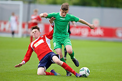 NEWPORT, WALES - Thursday, May 28, 2015: Central WPL Academy Boys' Jack Vale and South WPL Academy Boys' captain Alaric Jones during the Welsh Football Trust Cymru Cup 2015 at Dragon Park. (Pic by David Rawcliffe/Propaganda)