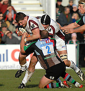 Twickenham, GREAT BRITAIN,  tigers Ben KAYSER, supported by Beb KAYY is tackled by Quins Gary BOTHA, during the Guinness Premiership Game, Harlequins [Quins] vs Leicester Tigers, at the Twickenham Stoop.  [Mandatory credit Peter Spurrier/ Intersport Images].