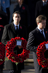 © London News Pictures. 11/11/2012. London, UK. Labour Party Leader Ed Miliband (left) and Deputy Prime Minister Nick Clegg (right) during a Remembrance Day Ceremony at the Cenotaph on November 11, 2012 in London, United Kingdom. Photo Credit: Ben Cawthra/LNP