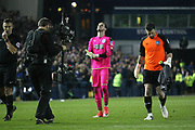 Huddersfield Town goalkeeper, on loan from Liverpool, Danny Ward (1) and Sheffield Wednesday goalkeeper Keiren Westwood (1) prepare for the penalty shoot-out during the EFL Sky Bet Championship play off second leg match between Sheffield Wednesday and Huddersfield Town at Hillsborough, Sheffield, England on 17 May 2017. Photo by John Potts.