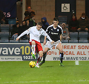 Falkirk&rsquo;s Dundee old boy John Baird shields the ball from Dundee&rsquo;s Thomas Konrad  - Dundee v Falkirk, William Hill Scottish Cup Fourth Round at Dens Park <br /> <br />  - &copy; David Young - www.davidyoungphoto.co.uk - email: davidyoungphoto@gmail.com