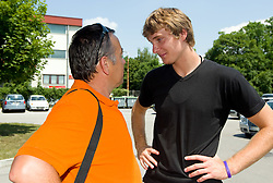 Teo Djekic and Zoran Dragic of Slovenia Basketball national team at departure to Rogla before World Championship in Turkey, on July 10, 2010 at KZS, Ljubljana, Slovenia. (Photo by Vid Ponikvar / Sportida)