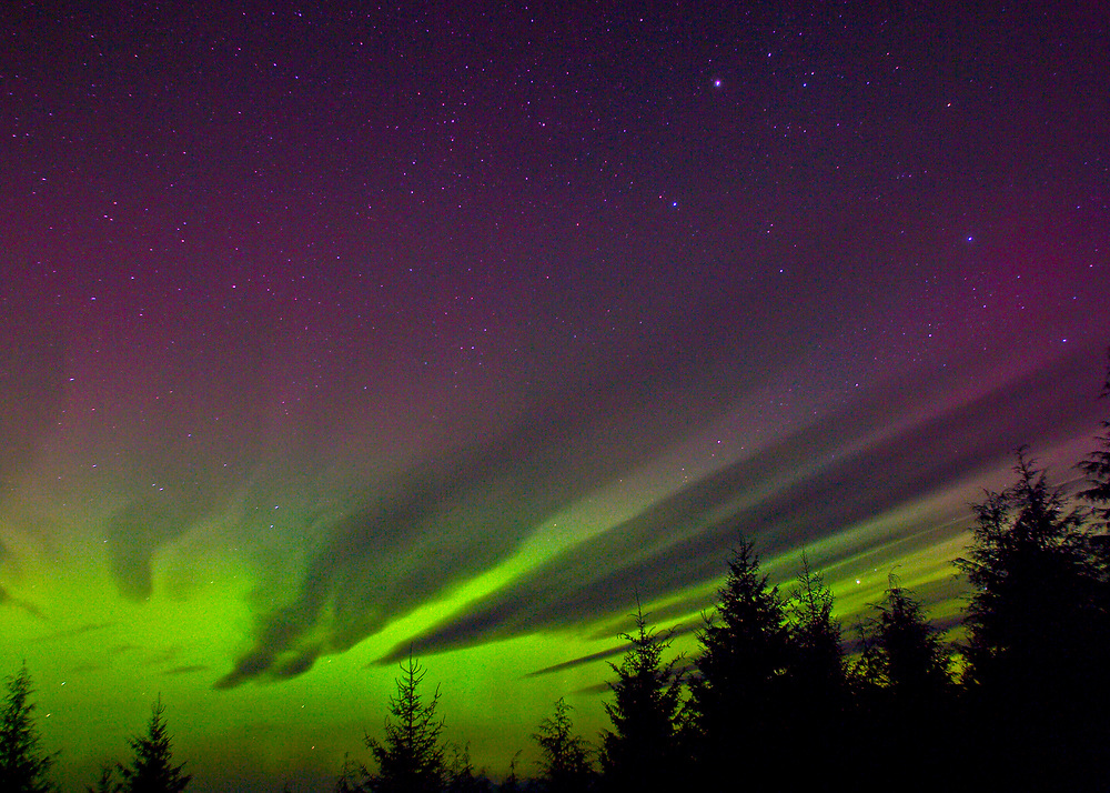 Alaska. SE. Aurora Borealis .