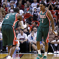 22 January 2012: Milwaukee Bucks point guard Brandon Jennings (3) celebrates with Milwaukee Bucks shooting guard Stephen Jackson (5) during the Milwaukee Bucks 91-82 victory over the Miami Heat at the AmericanAirlines Arena, Miami, Florida, USA.