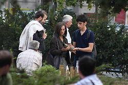 "14.09.2011, Sarajevo, BIH, Relaxed Penelope Cruz continues shooting of the movie ""Venuto Al Mundo""  in the center square of Sarajevo. Cruz is seen shooting the scene with young bosnian actor Adnan Haskovic. Her character Gemma, walks around the city with young actor who plays the character of her son and they are browsing stands with war souvenirs. Unlike previous days, today shooting was open to public. EXPA Pictures © 2011, PhotoCredit: EXPA/ nph/ Pixsell +++++ ATTENTION - OUT OF GERMANY/(GER), CROATIA/(CRO), BELGIAN/(BEL) +++++"