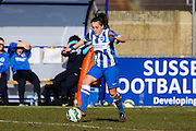 Brighton first team debutant Phoebe Leitch during the FA Women's Sussex Challenge Cup semi-final match between Brighton Ladies and Hassocks Ladies FC at Culver Road, Lancing, United Kingdom on 15 February 2015. Photo by Geoff Penn.