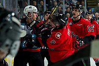 KELOWNA, BC - DECEMBER 30:  Tyson Upper #9 of the Prince George Cougars gets in the face of Dillon Hamaliuk #22 of the Kelowna Rockets during first period at Prospera Place on December 30, 2019 in Kelowna, Canada. (Photo by Marissa Baecker/Shoot the Breeze)