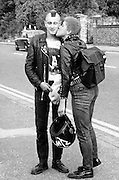 Couple Kiss on the Street, High Wycombe, UK, 1980s.