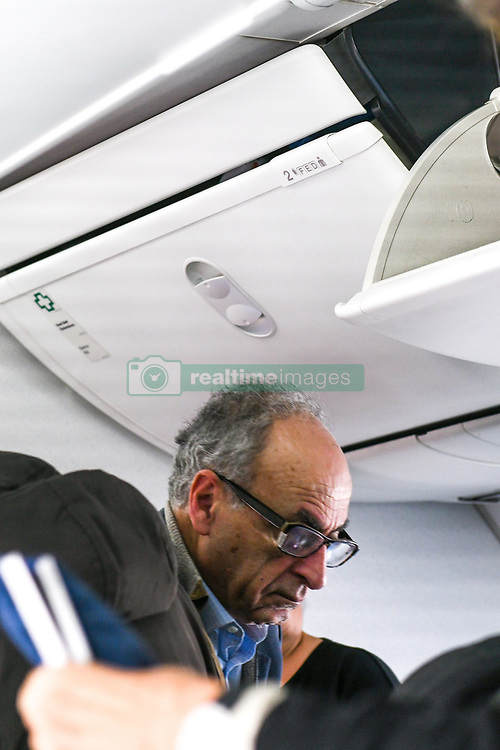 "Photo dated February 9, 2018 shows Ziad Takieddine, one of the main persons named in the Sarkozy-Gaddafi case arriving in Beirut, Lebanon, aboard a ""low cost"" flight from Transavia airlines. He used to fly in private jets and says he personally carried millions of euros for Nicolas Sarkozy. Photo by Balkis Press/ABACAPRESS.COM"