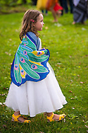 Old Westbury, New York, USA. 28th June 2015. A young girl, wearing a long white dress and fairy wings costume, joins a dance lesson on grounds of historic Old Westbury Gardens, a Long Island Gold Coast estate, during its Midsummer Night event.