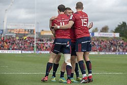 October 20, 2018 - Limerick, Ireland - Munster players celebrate Mike Haley scoring during the Heineken Champions Cup match between Munster Rugby and Gloucester Rugby at Thomond Park in Limerick, Ireland on October 20, 2018  (Credit Image: © Andrew Surma/NurPhoto via ZUMA Press)