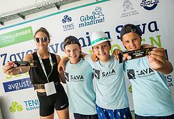 Kids posing with Medex chocolates during Day 9 of ATP Challenger Zavarovalnica Sava Slovenia Open 2018, on August 11, 2018 in Sports centre, Portoroz/Portorose, Slovenia. Photo by Vid Ponikvar / Sportida