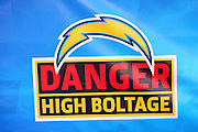 SAN DIEGO, CA - AUGUST 30:  A danger, high boltage sign appears on the sidelines at the San Diego Chargers NFL preseason game with the San Francisco 49ers at Qualcomm Stadium on August 30, 2007 in San Diego, California. The Chargers defeated the 49ers 16-13. ©Paul Anthony Spinelli
