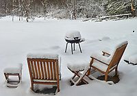 Snow covered patio chairs and grill. Composite of three images taken with a Leica TL-1 camera and 35mm f/1.4 lens (ISO 200, 35 mm, f/4, 1/1000 sec).