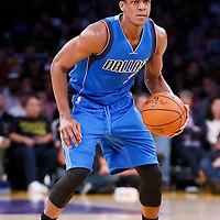 12 April 2014: Dallas Mavericks guard Rajon Rondo (9) dribbles during the Dallas Mavericks 120-106 victory over the Los Angeles Lakers, at the Staples Center, Los Angeles, California, USA.