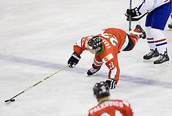 FEKETE Dániel of Hungary  at IIHF Ice-hockey World Championships Division I Group B match between National teams of Hungary and Croatia, on April 20, 2010, in Tivoli hall, Ljubljana, Slovenia.  (Photo by Vid Ponikvar / Sportida)