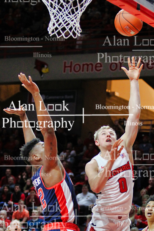 NORMAL, IL - December 08: Devontae Shuler defends a shot by Isaac Gassman during a college basketball game between the ISU Redbirds and the University of Mississippi (Ole Miss) Rebels on December 08 2018 at Redbird Arena in Normal, IL. (Photo by Alan Look)
