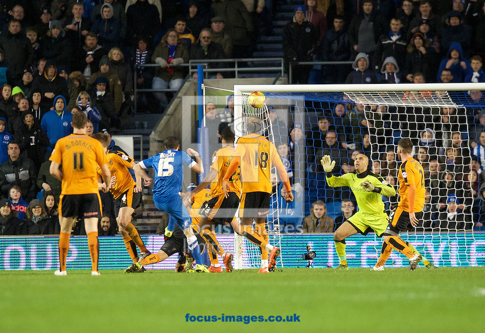 Jamie Murphy of Brighton &amp; Hove Albion fires his shot over the bar during the Sky Bet Championship match at the American Express Community Stadium, Brighton and Hove<br /> Picture by Alan Stanford/Focus Images Ltd +44 7915 056117<br /> 01/01/2016