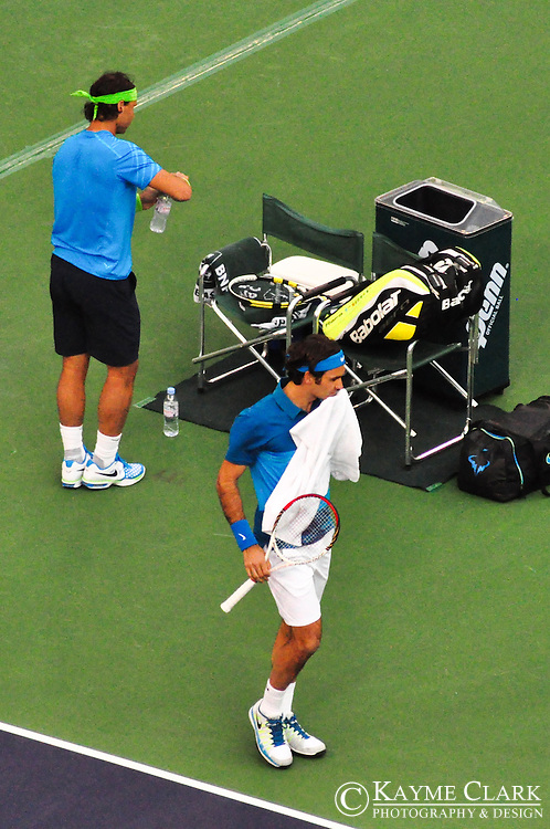 Roger Federer versus Rafael Nadal at the BNP Paribas Open in Indian Wells, California.