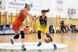 Egle Siksniute of MBK Ruzomberok and Ana Radovic of ZKK Cinkarna Celje in action during basketball match between ZKK Cinkarna Celje (SLO) and MBK Ruzomberok (SVK) in Round #6 of Women EuroCup 2018/19, on December 13, 2018 in Gimnazija Celje Center, Celje, Slovenia. Photo by Urban Urbanc / Sportida