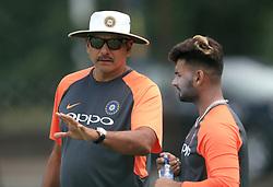India head coach Ravi Shastri (left) and Rishabh Pant during a nets session at Edgbaston, Birmingham.