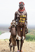 Africa, Ethiopia, Omo Valley, Karo tribe Omo river in the background