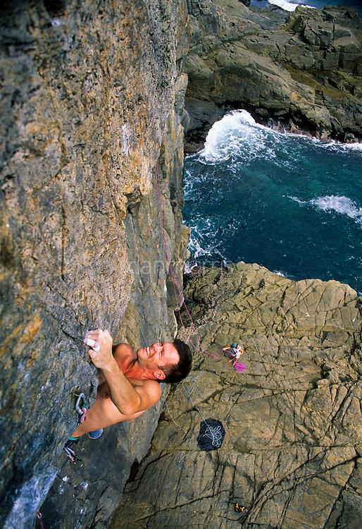 Colin Spark rock climbing, Tung Lung Island, Hong Kong