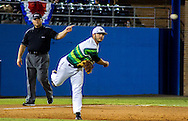 USF third baseman Andres Leal throws the ball to first base, Saturday night in Gainesville, Florida. The Bulls lost to the Gators 8-2. (photo by Samuel Navarro)