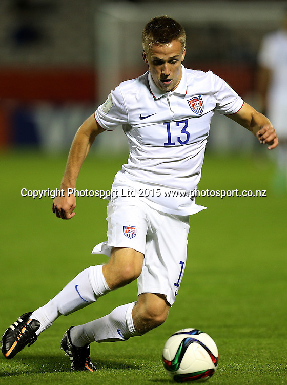 Thomas Thompson of USA in the Group A FIFA U20 World Cup Match between USA and Myanmar at Northlands Event Centre, Whangarei, Northland, New Zealand, Saturday, May 30, 2015. Copyright photo: David Rowland / www.photosport.co.nz