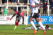 Wrexham Forward Ntumba Massanka scores a goal 2-3 during the Vanarama National League match between Bromley FC and Wrexham FC at Hayes Lane, Bromley, United Kingdom on 8 April 2017. Photo by Jon Bromley.