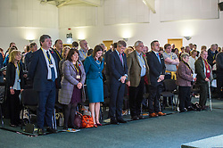 Pictured: Alistair Carmichael, MSP, Christine Jardine, MOP, Jo Swinton, Willie Rennie; Mike Rumbles and Alex Cole Hamilton prepare to observe the two minutes silence in rememberenace of thiose who fought and died in conflicts around thr world.<br /> <br /> The Scottish Liberal Democrats stalwarts gathered today in Dunfermline for their Autumn Conference<br /> <br /> Ger Harley | EEm 11 November 2017