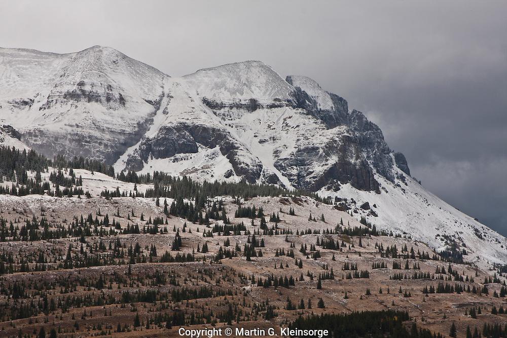 First snow of the autumn season on 13,148 ft. Grand Turk of the San Juan Mountains, Colorado.