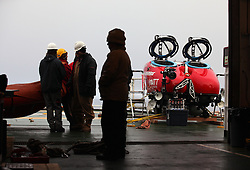 USA ALASKA BERING SEA 11JUL12 - A two-seater submersible craft, on loan from the Waitt Institute is prepared on board the Greenpeace ship Esperanza for its first dive exploring the deep sea canyons of the Bering Sea, Alaska.....The Greenpeace ship Esperanza is on an Arctic expedition to study unexplored ocean habitats threatened by offshore oil drilling, as well as industrial fishing fleets.....Photo by Jiri Rezac / Greenpeace....© Jiri Rezac / Greenpeace