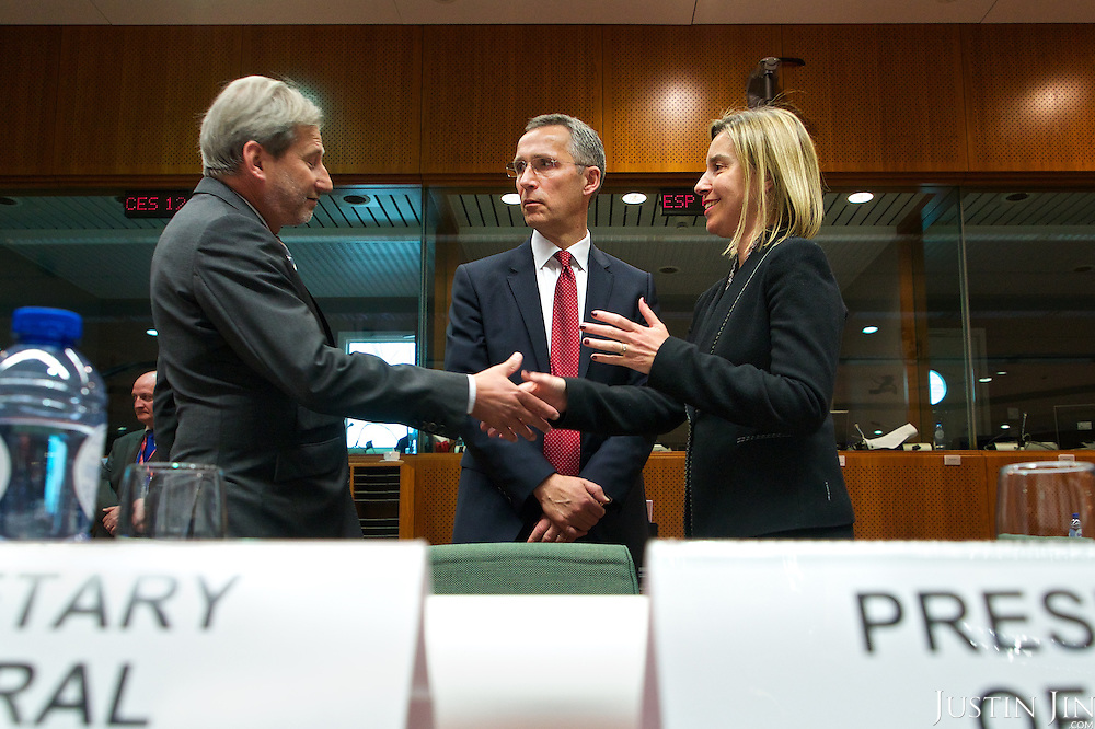 Middle: Lithuania's Foreign Minister Linas Linkevicius. Right: High Representative of the European Union for Foreign Affairs and Security Policy Federica Mogherini.