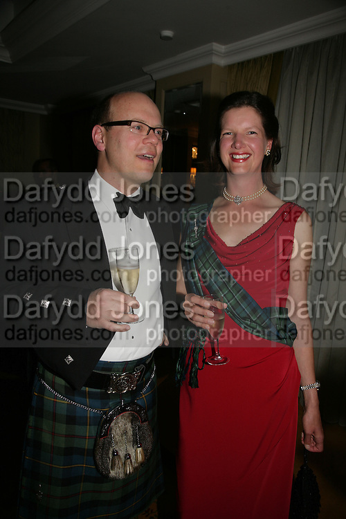 William Scaldwell and Jemima Currie , The Royal Caledonian Ball 2007. Grosvenor House. 4 May 2007.  -DO NOT ARCHIVE-© Copyright Photograph by Dafydd Jones. 248 Clapham Rd. London SW9 0PZ. Tel 0207 820 0771. www.dafjones.com.