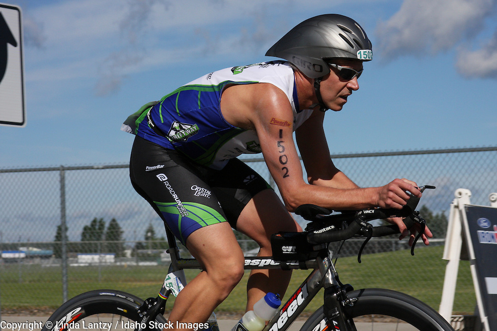 A male competitor during the cycling portion of Ford Ironman 2008 Coeur d'Alene, Idaho. June 22, 2008.
