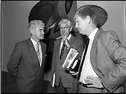 10/09/1988<br /> 09/10/1988<br /> 10 September 1988<br /> ROSC 1988 Exhibition at the Guinness Hop Store. <br /> Sir Norman Macfarlane, (centre) Chairman of Guinness plc. chatting with Mr Pat Murphy, (left) Chairman of ROSC and Mr Pat Barry, Director of Corporate Affairs, Guinness Ireland, during Sir Norman's visit to ROSC '88.