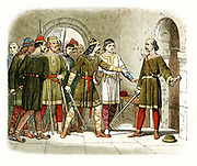 William de Breteuil defending the treasury at Winchester against Henry I (1068-1135) who seized the crown on death of his brother William II (1100) Colour-printed engraving c1860.