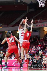 NORMAL, IL - December 04: Simone Goods shoots over Arielle Gonzalez-Varner during a college women's basketball game between the ISU Redbirds  and the Austin Peay Governors on December 04 2018 at Redbird Arena in Normal, IL. (Photo by Alan Look)