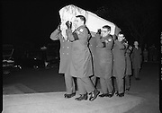 Irish Soldiers Bodies Returned From Lebanon. (R99)..1989..24.03.1989..03.24.1989..24th March 1989..While serving on the peacekeeping mission with the UN three Irish soldiers lost their lives when the vehicle they were in struck a land mine. The mine had ben planted by a Hezbollah Group who were targeting the Israeli military. The Soldiers; Corp Fintan Heneghan, Pte Mannix Armstrong and Pte Thomas Walshe were serving with C Company, 64th Infantry Batallion in Brashit, Sth Lebanon...Picture shows the coffins of Corp Fintan Heneghan, Pte Mannix Armstrong and Pte Thomas Walshe being carried into the church at Arbour Hill.