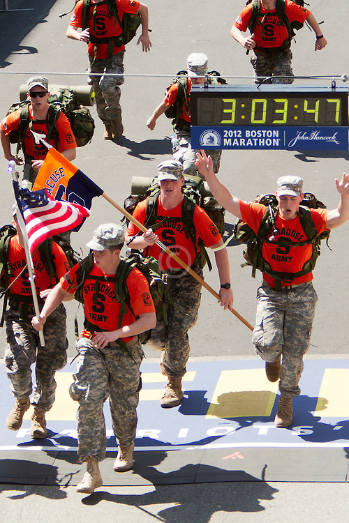 Army soldiers cross finish line at Boston Marathon