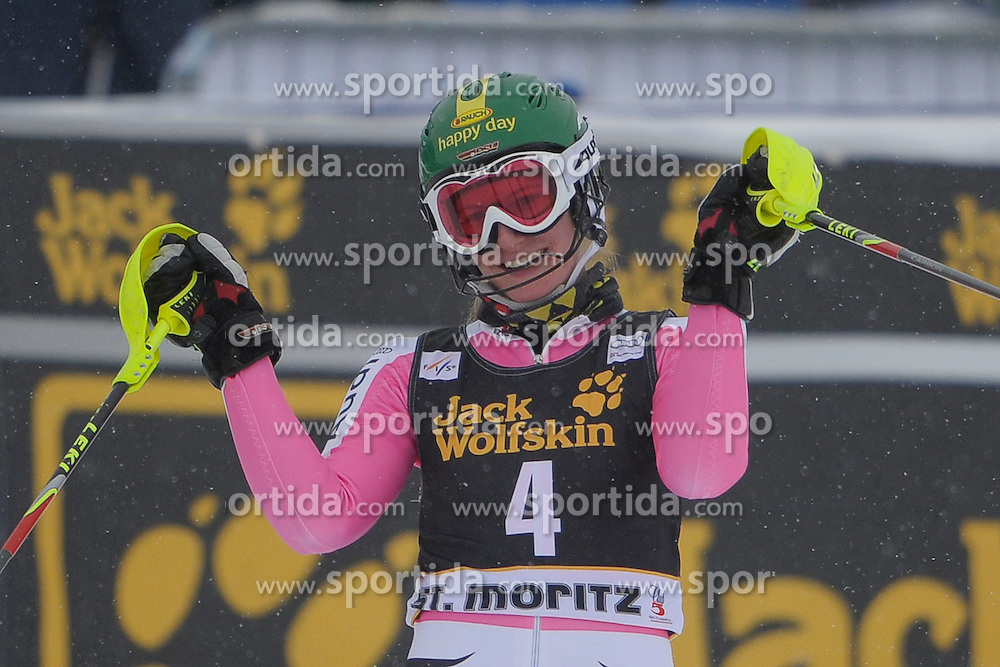 07.12.2012, Engiadina Rennstrecke, St. Moritz, SUI, FIS Ski Alpin Weltcup, Super Combination, Damen, Slalom, im Bild Lena Duerr(GER) im Ziel reacts // after Slalom of ladies Super Combined of FIS ski alpine world cup at the Engiadina course, St. Moritz, Switzerland on 2012/12/07. EXPA Pictures © 2012, PhotoCredit: EXPA/ Freshfocus/ Andreas Meier..***** ATTENTION - for AUT, SLO, CRO, SRB, BIH only *****