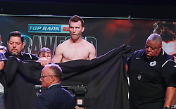 June 8, 2018 - Las Vegas, Nevada, United States of America - WBO  Welterweight Boxing Champion  Jeff Horn reacts after failing to make weight on June 8, 2018 for the  WBO Welterweight World title fight againgst Terrence Crawford at the MGM Grand Arena  in Las Vegas, Nevada. (Credit Image: © Marcel Thomas via ZUMA Wire)