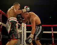 Picture by Alan Stanford/Focus Images Ltd +44 7915 056117<br /> 16/11/2013<br /> Eubank Jr. and Frankie Borg during their middleweight bout at Glow Bluewater, Greenhithe.
