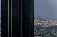 France. Paris. elevated view on the Sacre Coeur. Paris , Montparnasse tower  view from the hotel Meridien Montparnasse